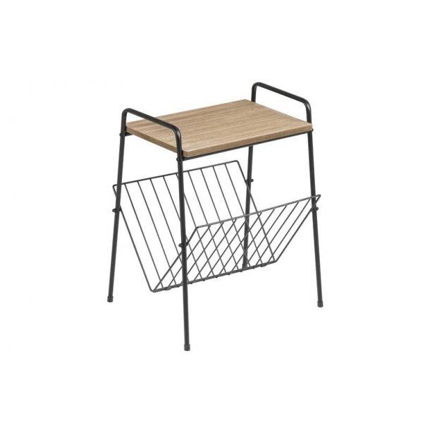 Tama hjørnebord og magasinholder i træ og sort metal.