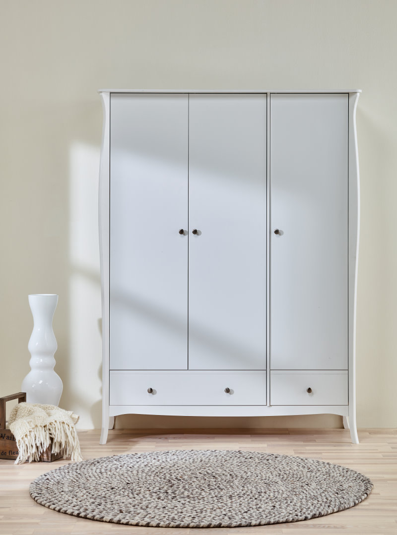 baroque kleiderschrank 3 t rig mit 2 schubladen breite 143 cm h he 192 cm in weiss bestellen. Black Bedroom Furniture Sets. Home Design Ideas