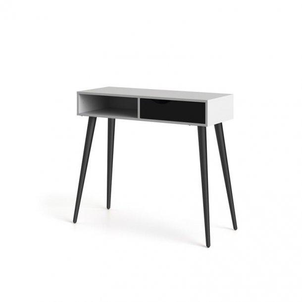 Napoli skrivebord med 1 skuffe og 1 hylde i hvid og mat sort.