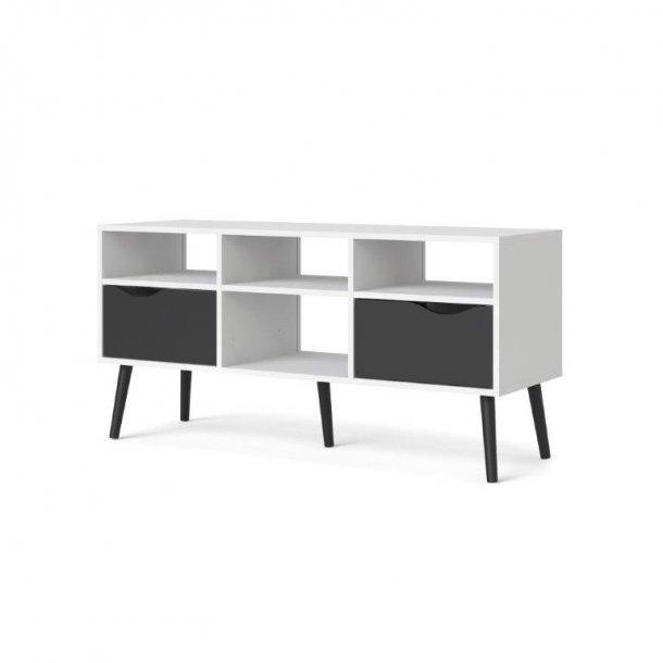 Napoli TV-møbel med 2 skuffer og 4 hylder i hvid og mat sort.