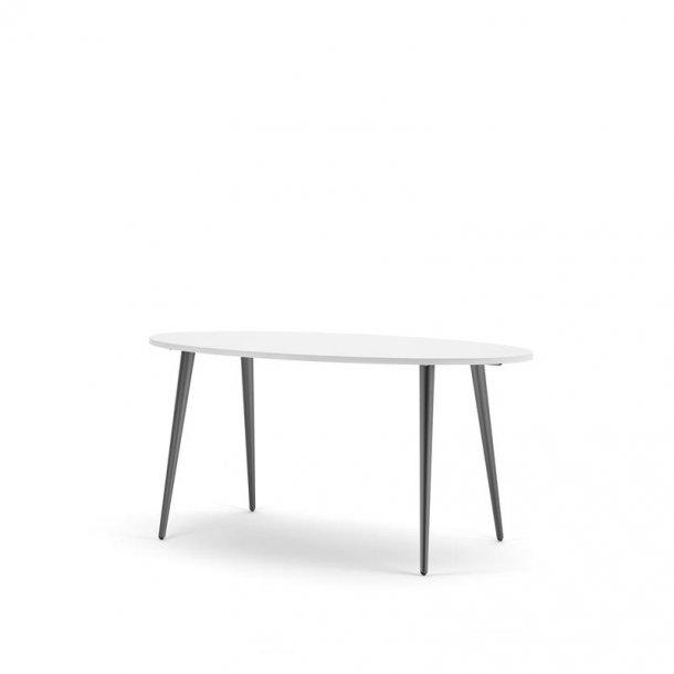 Napoli spisebord ellipseformet i hvid og mat sort.