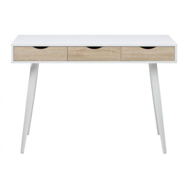 Skrivebord Nete i hvid med 3 skuffer i ege dekor og hvide metal ben.