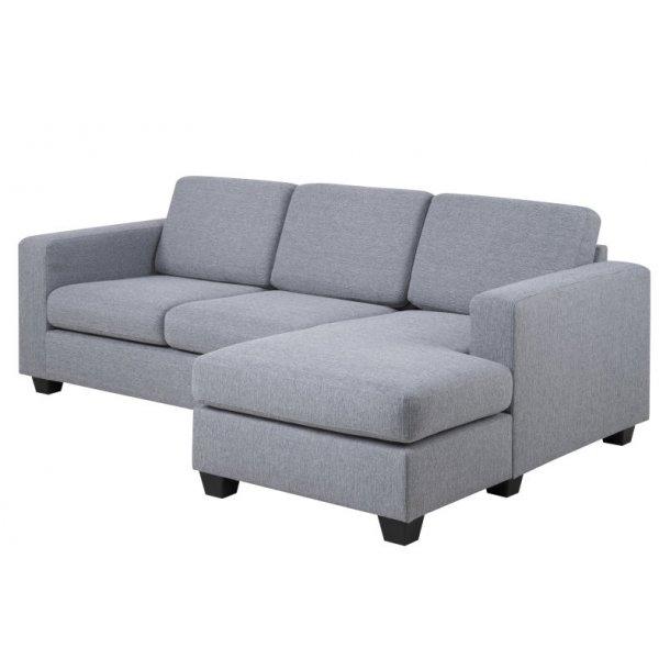 Wise 2-seter sofa med sjeselong i lys grå og med svarte ben.