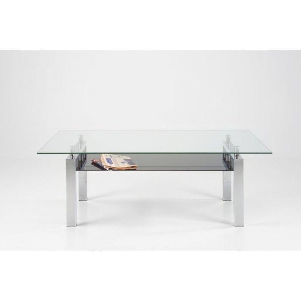 Calem sofabord med klar glasplade og hylde i sort glas stel i chrome.