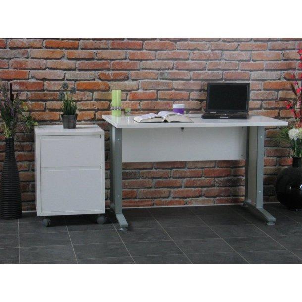 Prima skrivebord med skuffesektion hvid/grå.