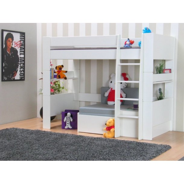 Molly Kids højseng 90x200 cm hvid inkl. lamelbund med sofamodul inkl. grå foldemadras.