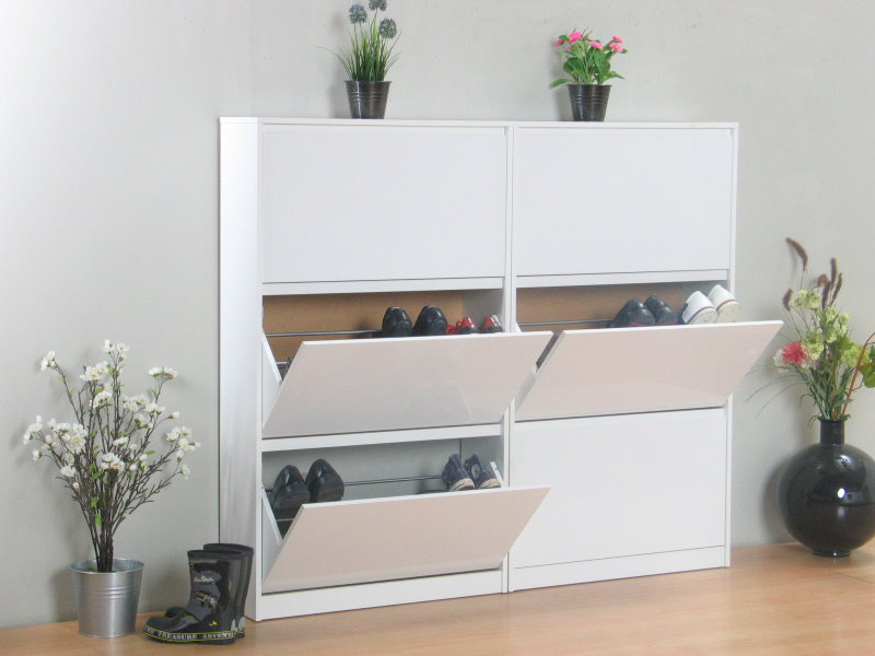 light schuhschrank mit 6 schubladen weiss hochglanz kaufen sie jetzt. Black Bedroom Furniture Sets. Home Design Ideas