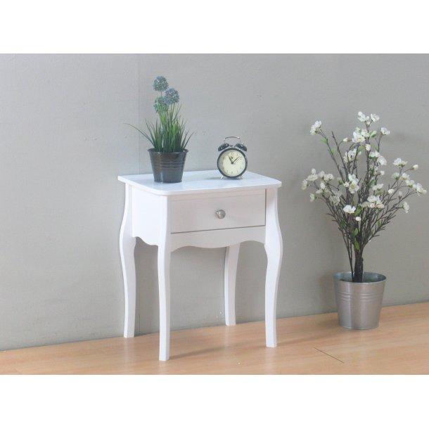 Baroque natbord med 1 skuffe i hvid.