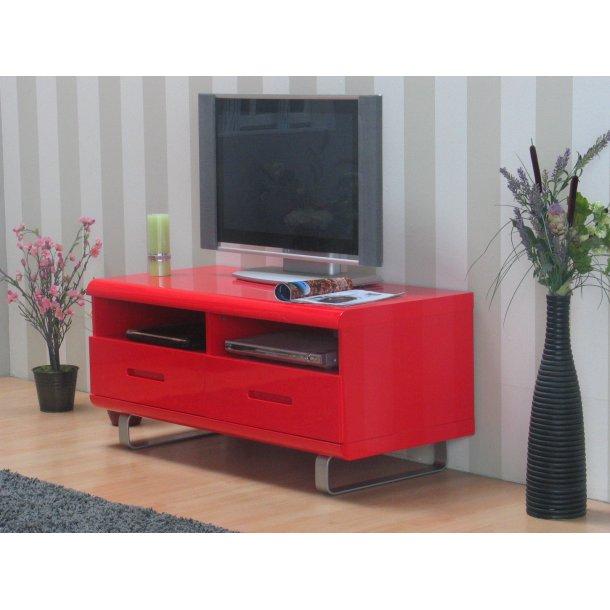 Spacy TV bord med 2 skuffer og 2 hylder i rød højglans.