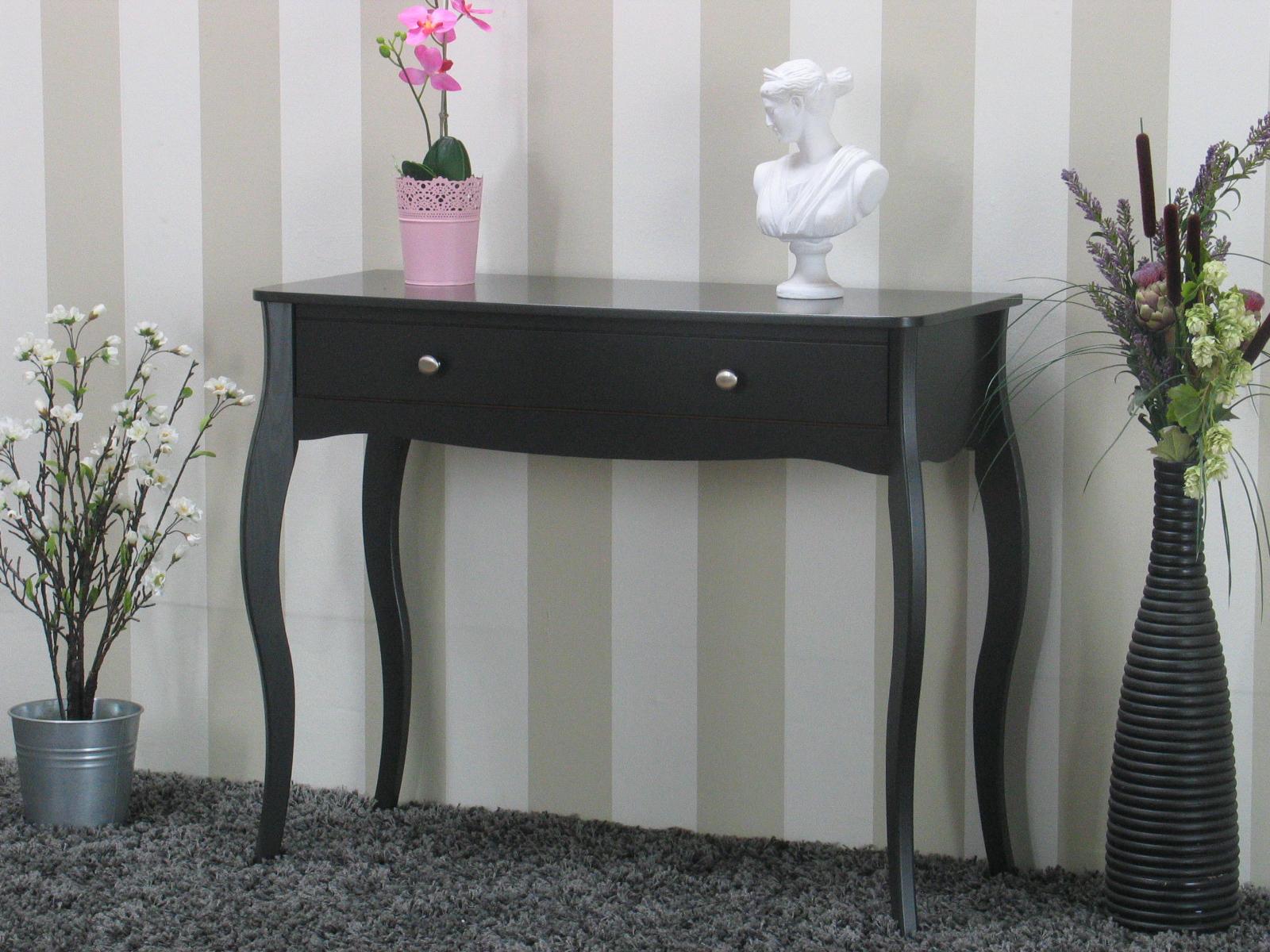 baroque konsolentisch mit 1 schublade in grau bestellen sie hier. Black Bedroom Furniture Sets. Home Design Ideas