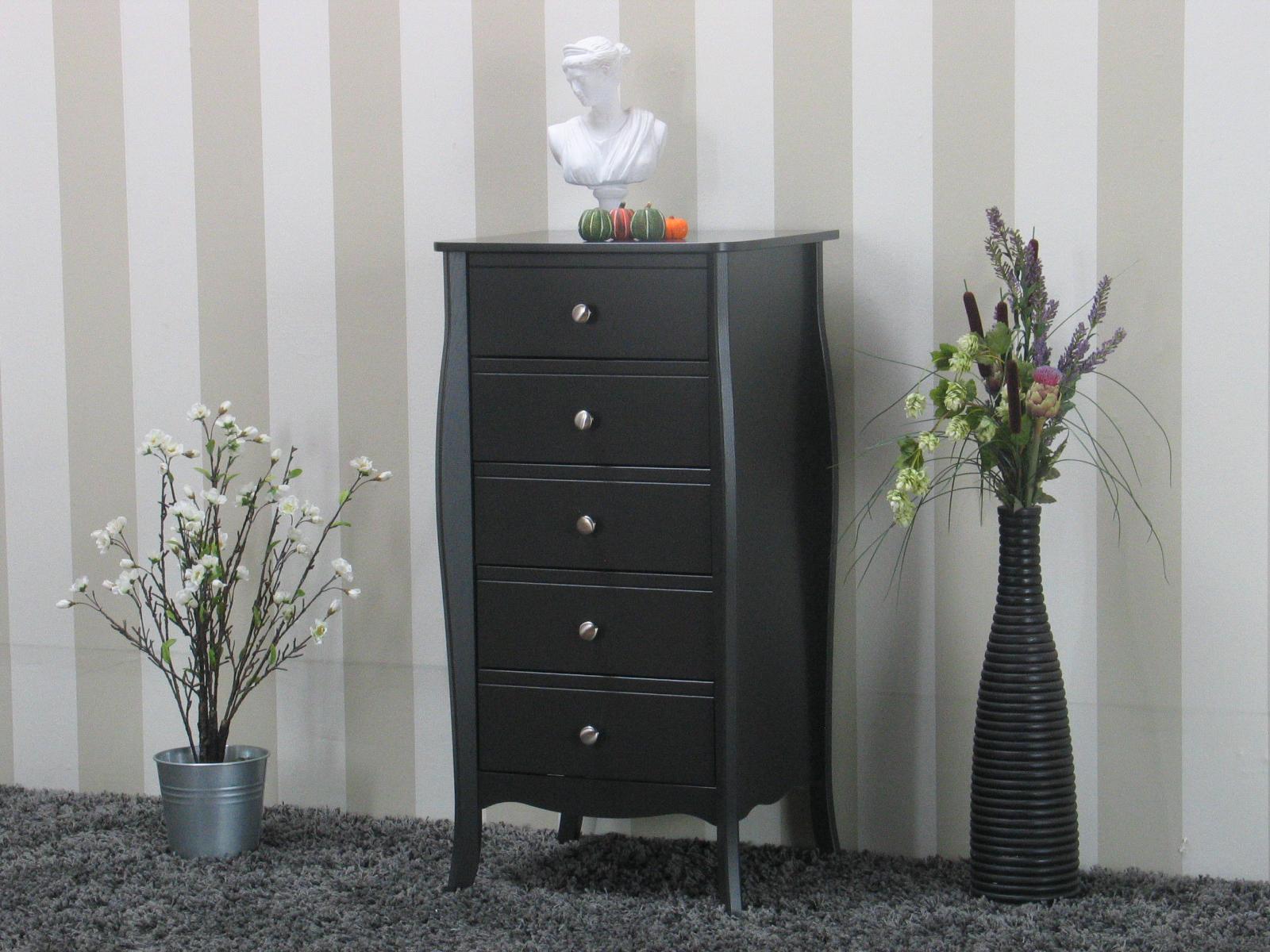 baroque kommode mit 5 schubladen in grau kaufen sie hier. Black Bedroom Furniture Sets. Home Design Ideas