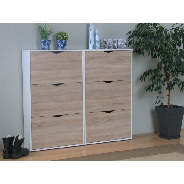 napoli schuhschrank mit 6 schubladen in weiss und eichendekor bestellen sie jetzt. Black Bedroom Furniture Sets. Home Design Ideas