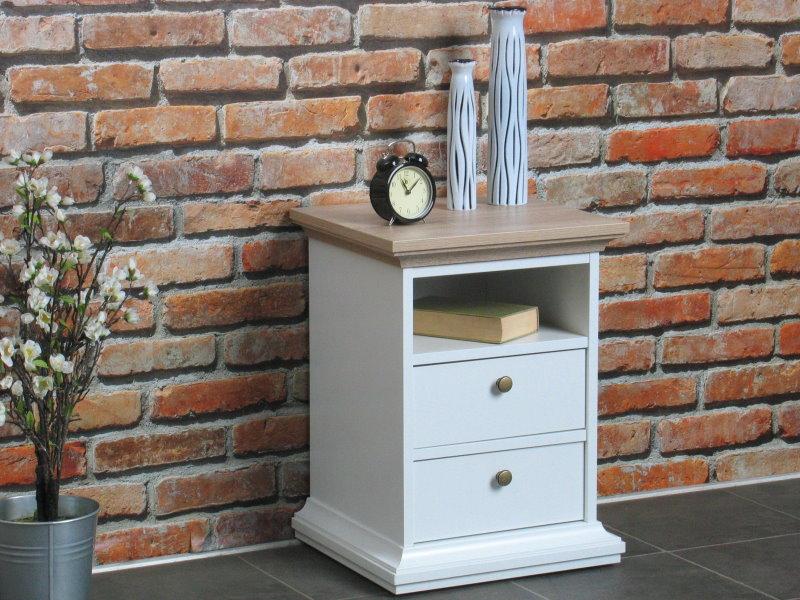 venedig nachtschrank weiss und eichendekor breite 43 cm. Black Bedroom Furniture Sets. Home Design Ideas