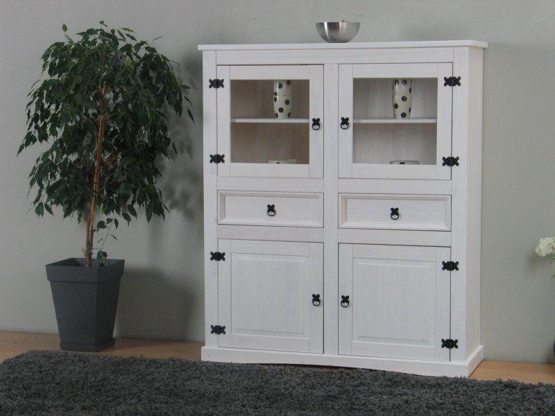 new mexico highboard mit 2 glast ren 2 get felten t ren. Black Bedroom Furniture Sets. Home Design Ideas