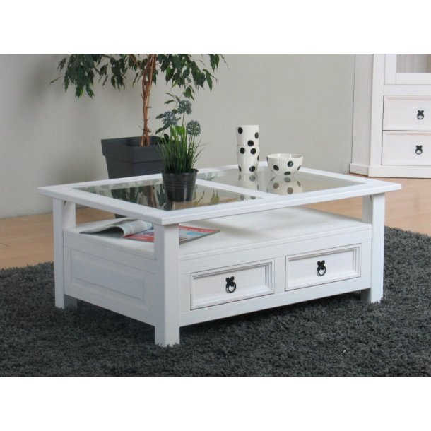 New Mexico sofabord med 2 skuffer hvid voks.