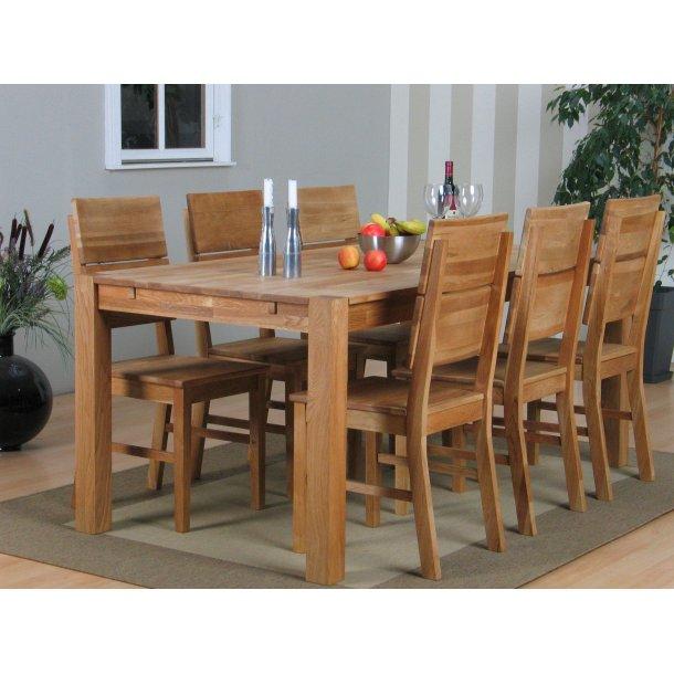 Mark spisegruppe 90x160 eik med 6 Mark stoler.