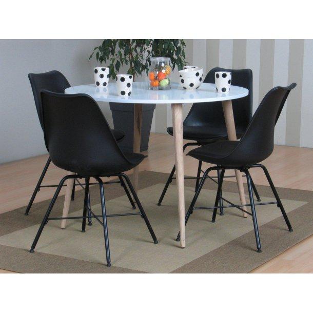 Napoli spisebordssæt 105 med spisebord og 4 sorte skalstole.
