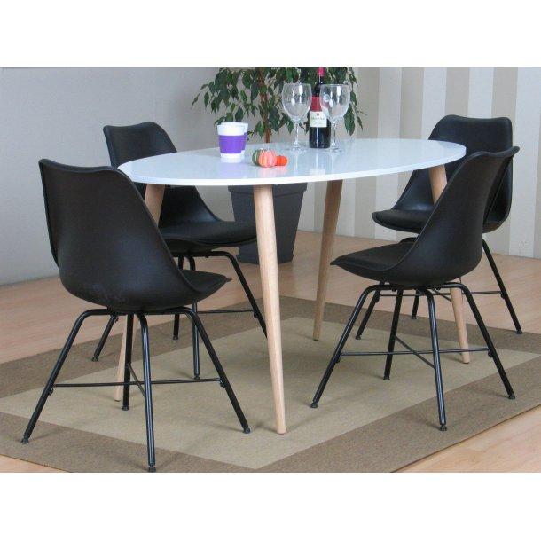 Napoli spisebordssæt 805 med spisebord og 4 sorte skalstole.