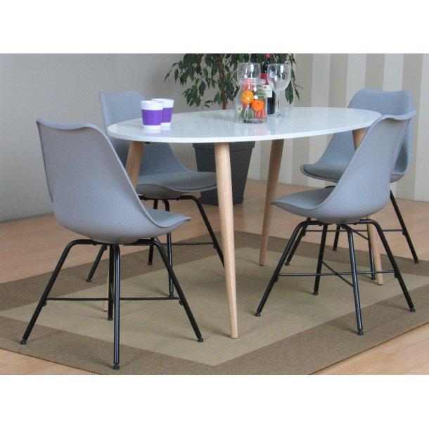 Napoli spisebordssæt 806 med spisebord og 4 grå skalstole.