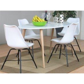 Spisegruppe Napoli rundt spisebord med 4 grå skallstoler.