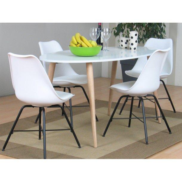Napoli spisebordssæt 804 med spisebord og 4 hvide skalstole.