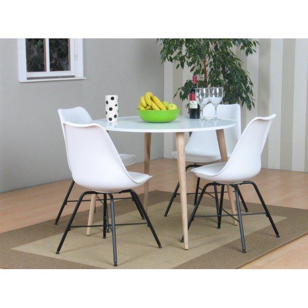Napoli spisebordssæt 104 med spisebord og 4 hvide skalstole.