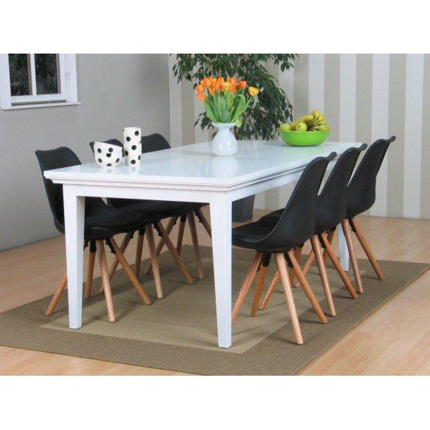 Venedig spisebordssæt med spisebord inkl. 2 plader og 6 sorte skalstole.