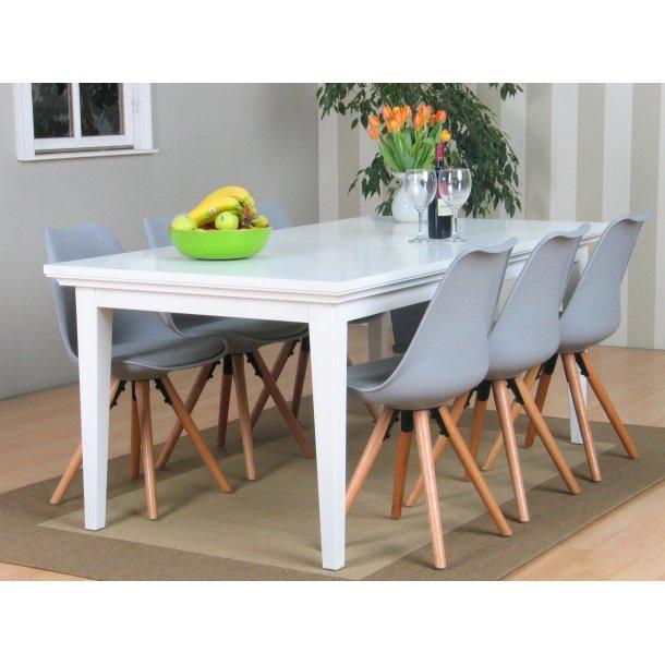 Venedig spisebordssæt med spisebord inkl. 2 plader og 6 grå skalstole.