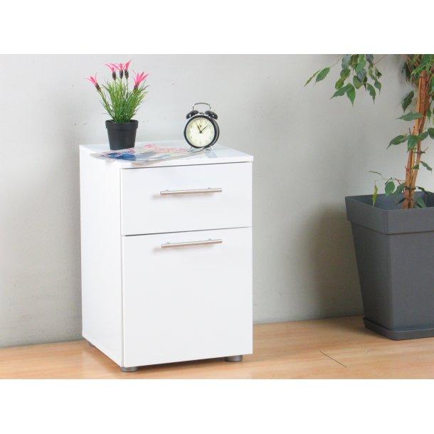 Infiniti nattbord med 1 skuff og 1 dør bredde 40 cm, høyde 61 cm hvit høyglans.