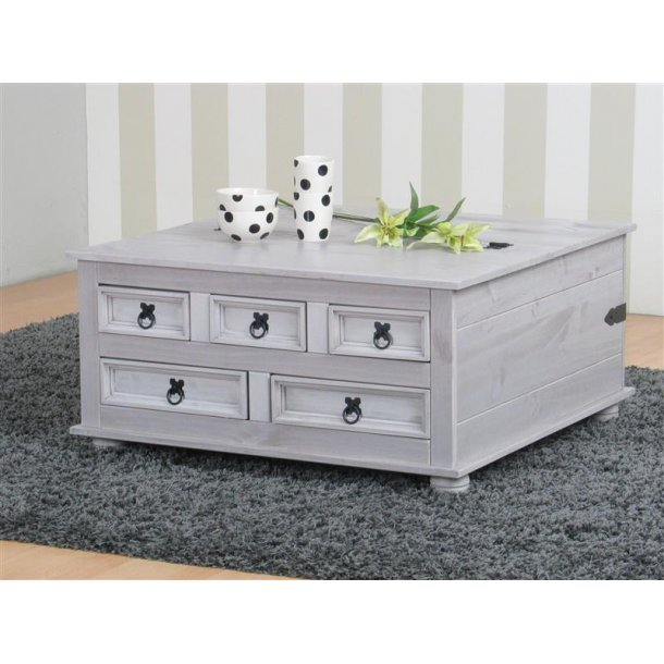 New Mexico sofabord med 5 skuffer 91x91 cm i grå.