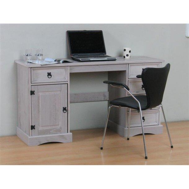 New Mexico skrivebord bredde 141 cm, højde 76 cm med 5 skuffer og 1 låge grå.