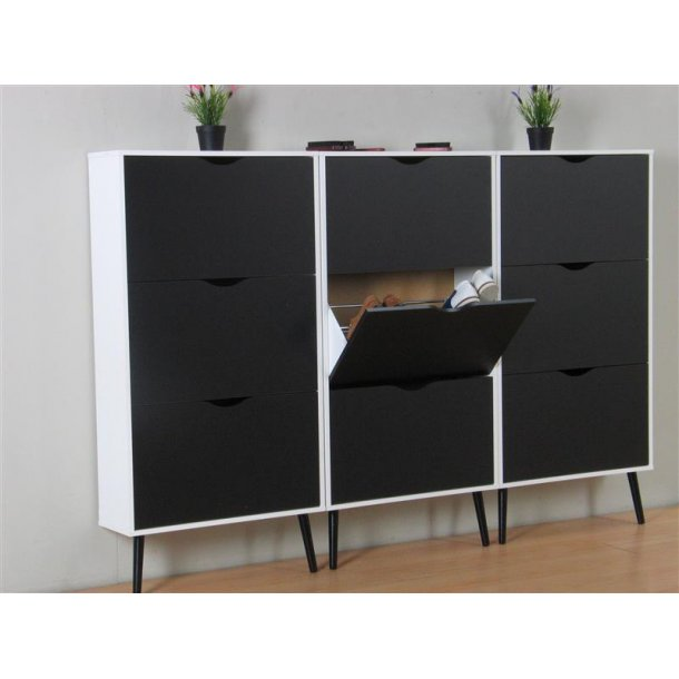 napoli schuhschrank mit 9 t ren in weiss und matt schwarz bestellen sie hier. Black Bedroom Furniture Sets. Home Design Ideas