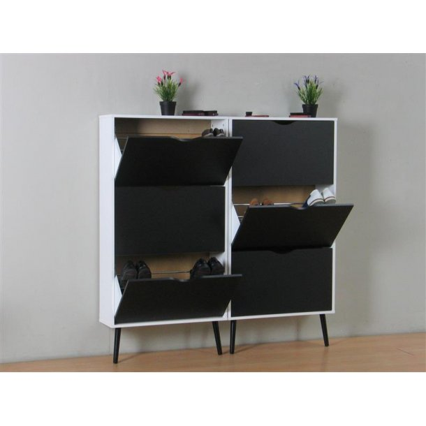 napoli schuhschrank mit 6 t ren in weiss und schwarz bestellen sie hier. Black Bedroom Furniture Sets. Home Design Ideas
