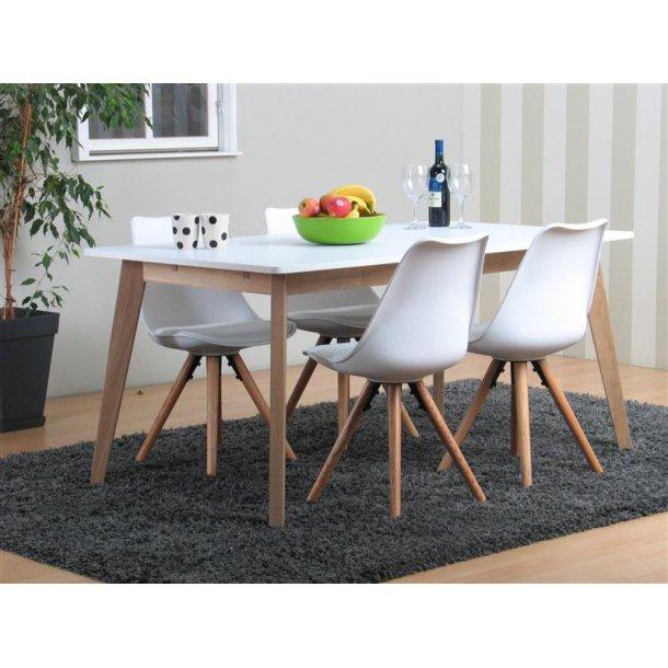 Lissabon spisebordssæt med spisebord og 4 hvide Nelle skalstole.