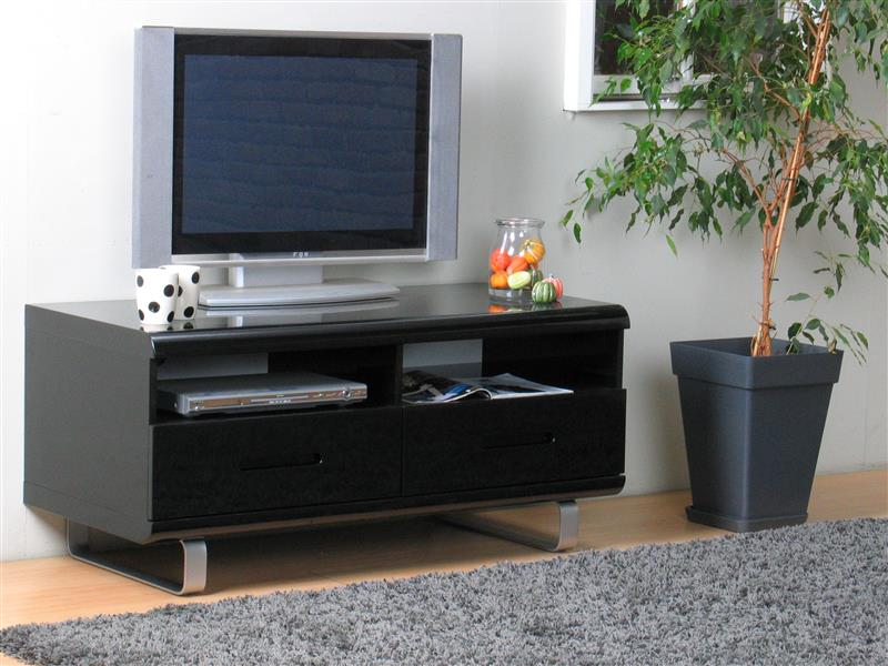 spacy tv schrannk mit 2 schubladen und 2 ablagen in schwarz hochglanz bestellen sie hier. Black Bedroom Furniture Sets. Home Design Ideas