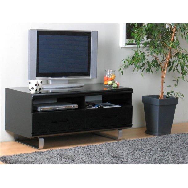 Spacy TV skænk med 2 skuffer og 2 hylder i sort højglans.