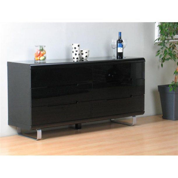 spacy kommode mit 6 schubladen in schwarz hochglanz bestellen sie hier. Black Bedroom Furniture Sets. Home Design Ideas