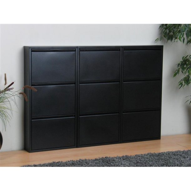 pisa schuhschrank mit 9 klappen t ren in metall schwarz fertig montiert geliefert bestellen sie. Black Bedroom Furniture Sets. Home Design Ideas