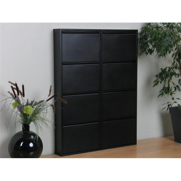 pisa schuhschrank mit 8 klappen t ren in metall schwarz fertig montiert estellen sie hier. Black Bedroom Furniture Sets. Home Design Ideas