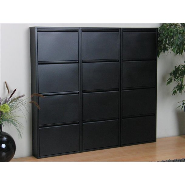 pisa schuhschrank mit 12 klappen t ren in metall schwarz fertig montiert bestellen sie hier. Black Bedroom Furniture Sets. Home Design Ideas