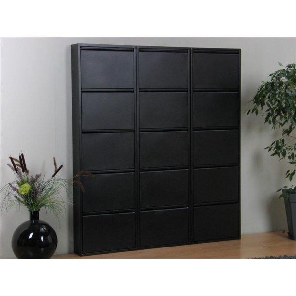 pisa schuhschrank mit 15 klappen t ren in metall schwarz fertig montiert bestellen sie hier. Black Bedroom Furniture Sets. Home Design Ideas
