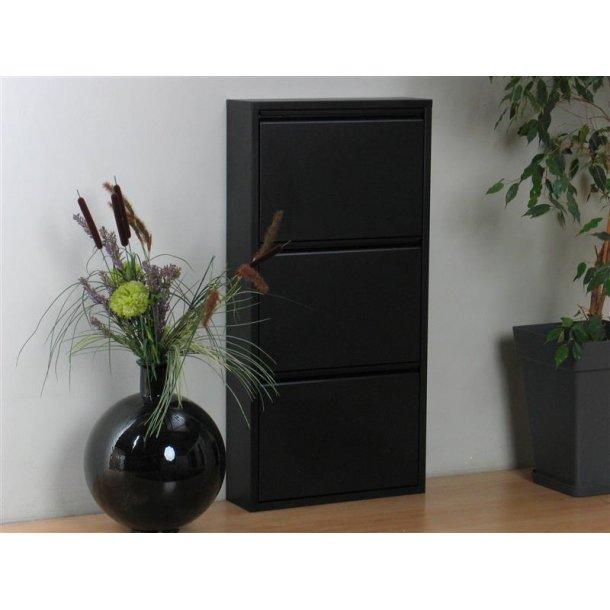 pisa schuhschrank mit 3 klappen t ren in metall schwarz. Black Bedroom Furniture Sets. Home Design Ideas