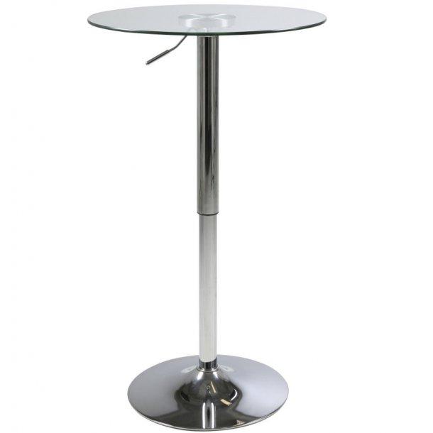Norm barbord med klar glas plade og med fod i chrome højdejusterbar.