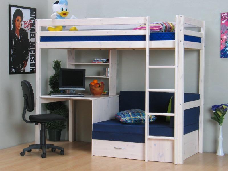 Etagenbett Mit Lattenrost Und Matratze : Thuka kids hochbett couch lattenrost matratze schreibplatte