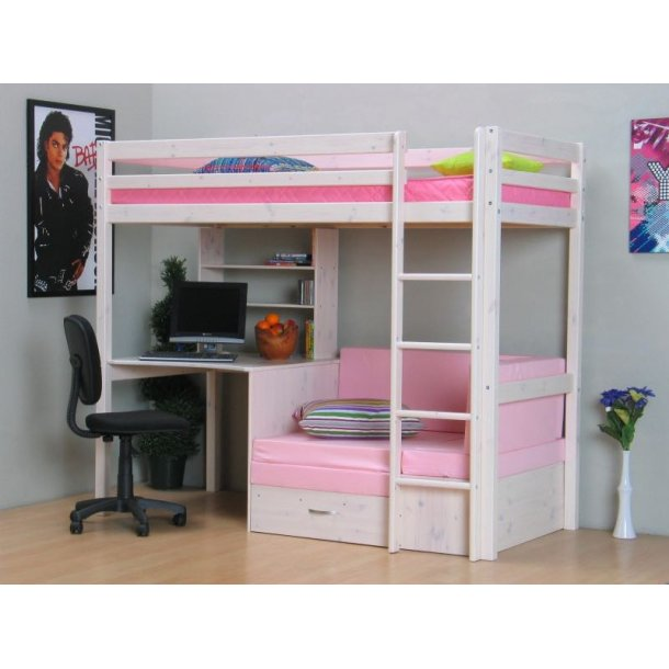 thuka kids hochbett couch lattenrost matratze schreibplatte und regal wei pink kaufen sie. Black Bedroom Furniture Sets. Home Design Ideas