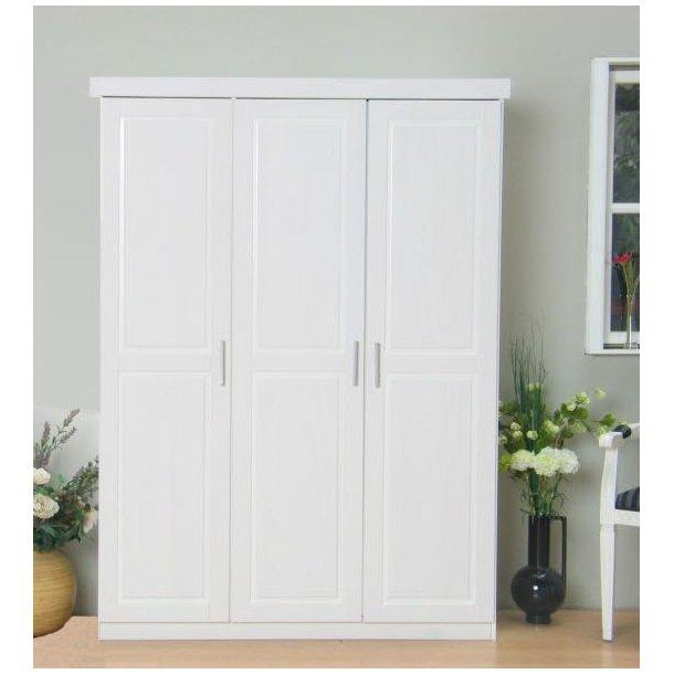 Magnus klædeskab 3 dørs bredde 140 cm, højde 190 cm hvid.
