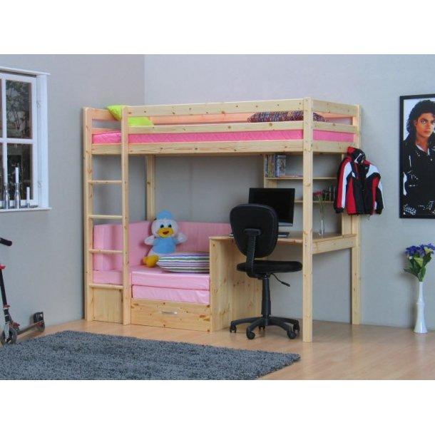Thuka Kids højseng med sofa, skriveplade og reol natur/pink.