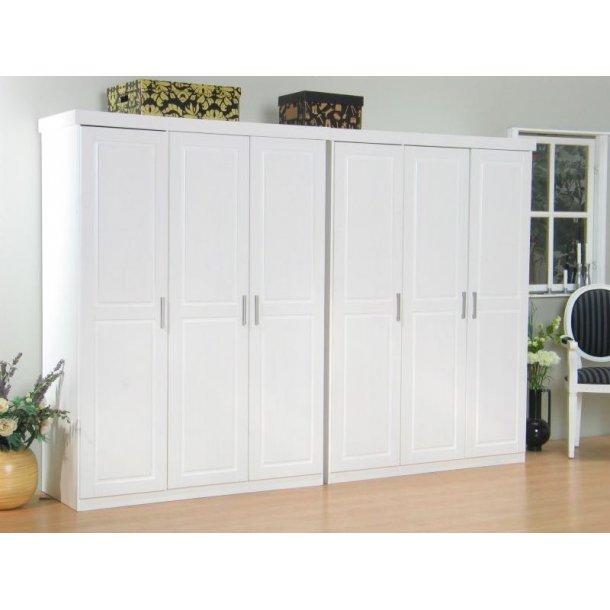Magnus klædeskab 6 dørs bredde 280 cm, højde 190 cm hvid.