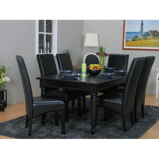 Amaretta spisegruppe 100x180/280 inkl. 2 tillægsplader sort med 6 sorte/sort Thor stole.
