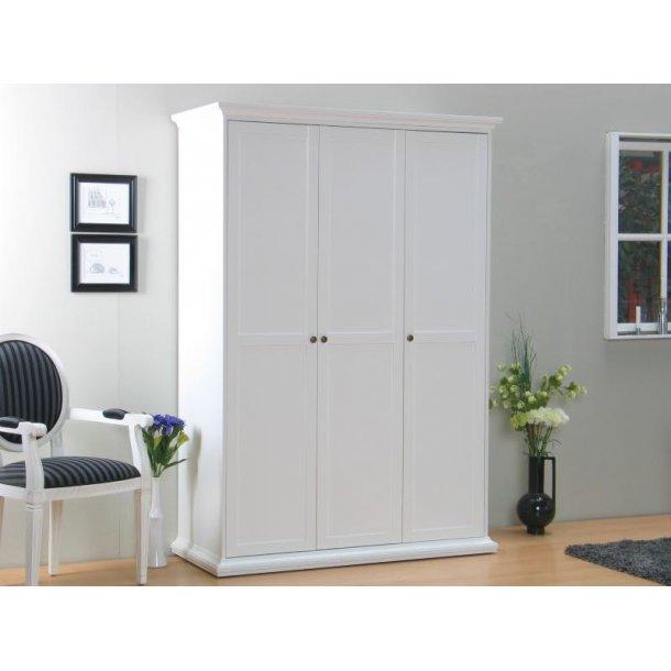 Venedig garderobeskap 3-dørs bredde 138 cm, høyde 200 cm hvit.